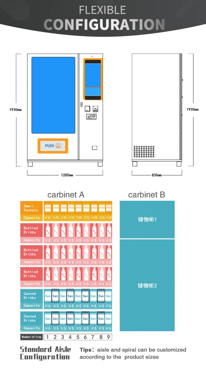 Wifi System Elevator Vending Machine With CE Certificate 337-662 Capacity