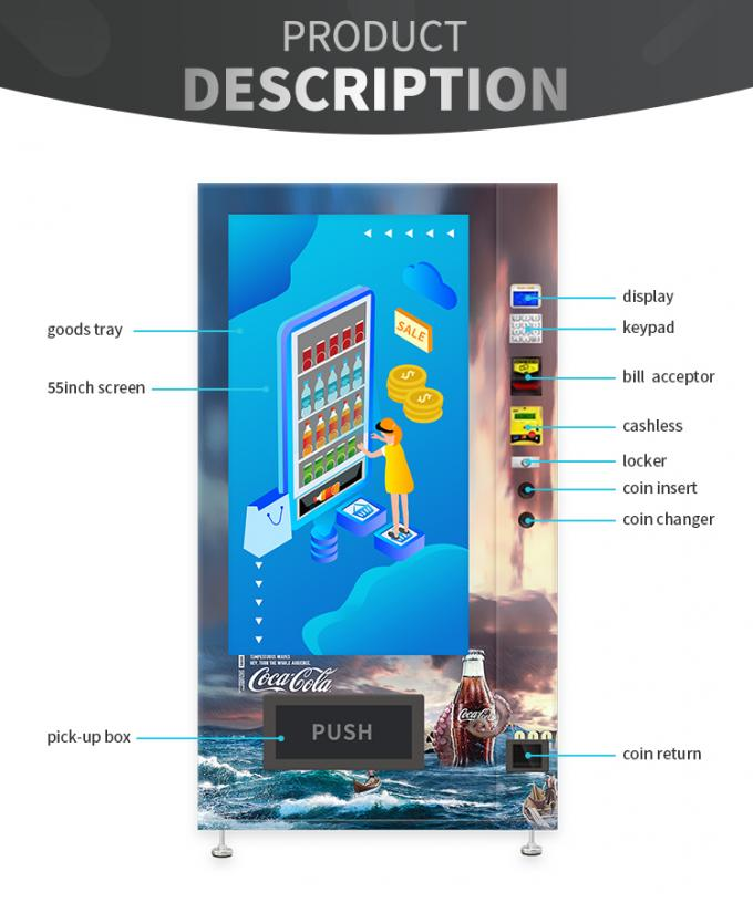 Cola Pepsi Sprite Bottled Canned Vending Machine With Cooling System Advertising Screen