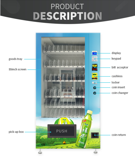 Soft Drink / Bevarage Snack Food Vending Machines For Business No Touch Screen