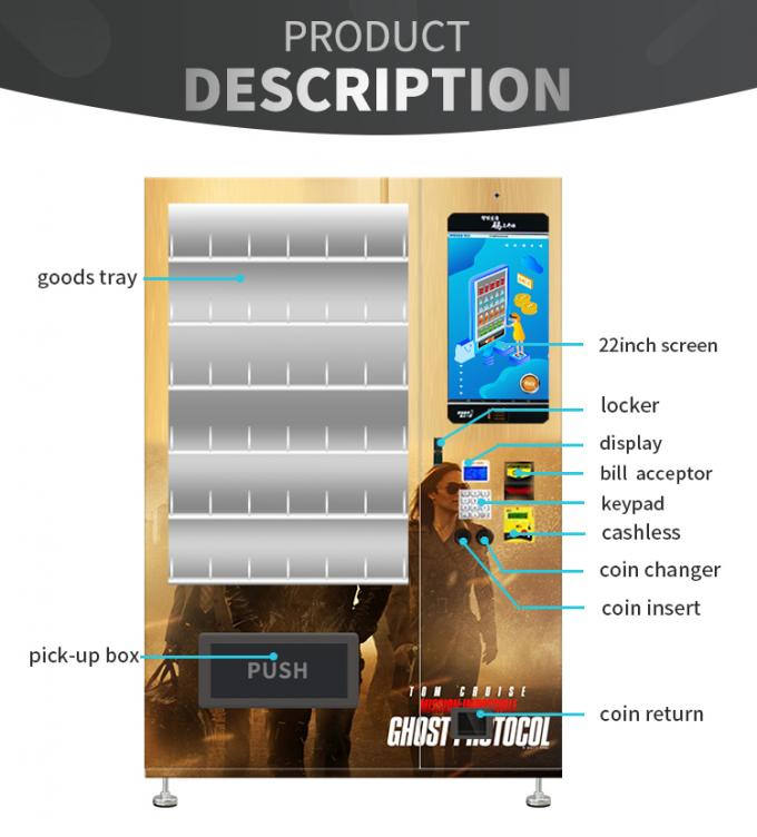 Movie Disc DVD CD Vending Machine With Double Tempered Glass Door