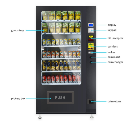 China Double Layer Glass Metal Vending Machine With Lift System And Low Consumption factory