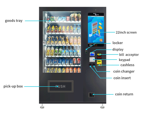 China Customized Sticker Snack And Drink Vending Machines With Stable Tempered Glass factory