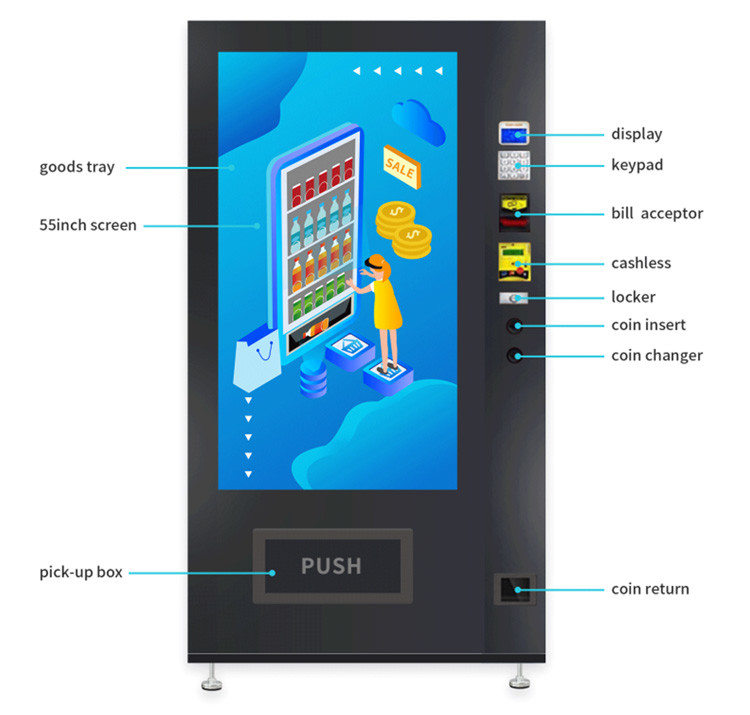 500w Credit Card Vending Machine With 24V Electric Heating Defogging Glass Door supplier