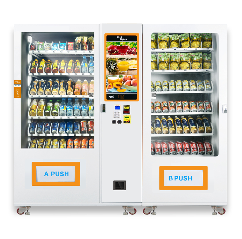Large Capacity Snack Food Hot Or Cold Drink Vending Machine Customized Logo And Sticker supplier