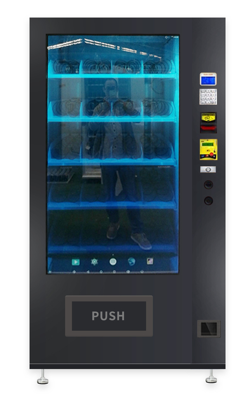 Protein Beverages Snack Food Milk Vending Machine , 55 Inch Touch Semi Transparent Screen Vending Machine supplier