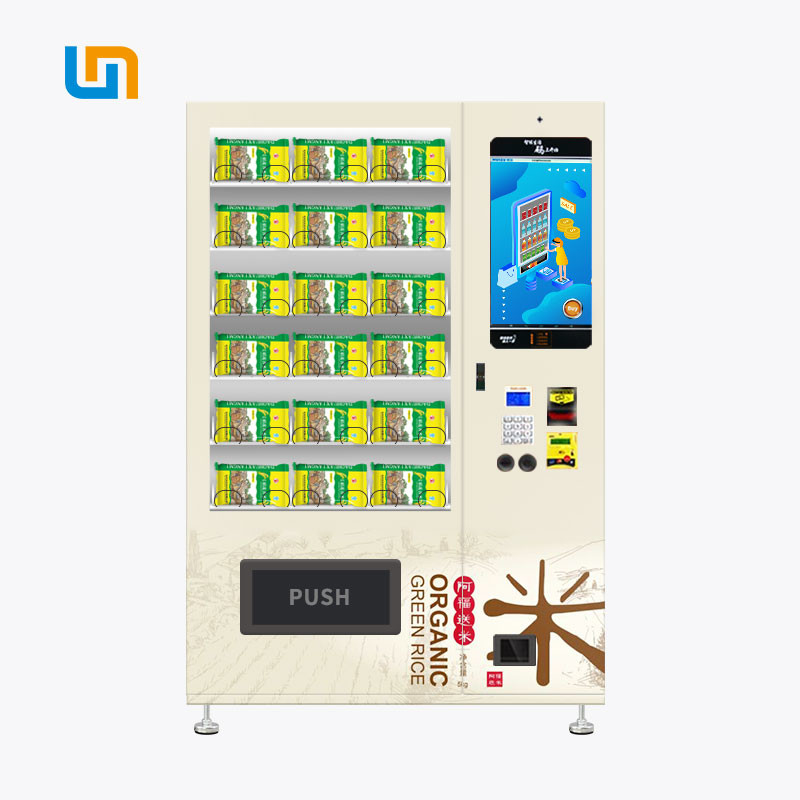 Bagged Rice Conveyor Vending Machine With LED Lighting Adjustable Height supplier